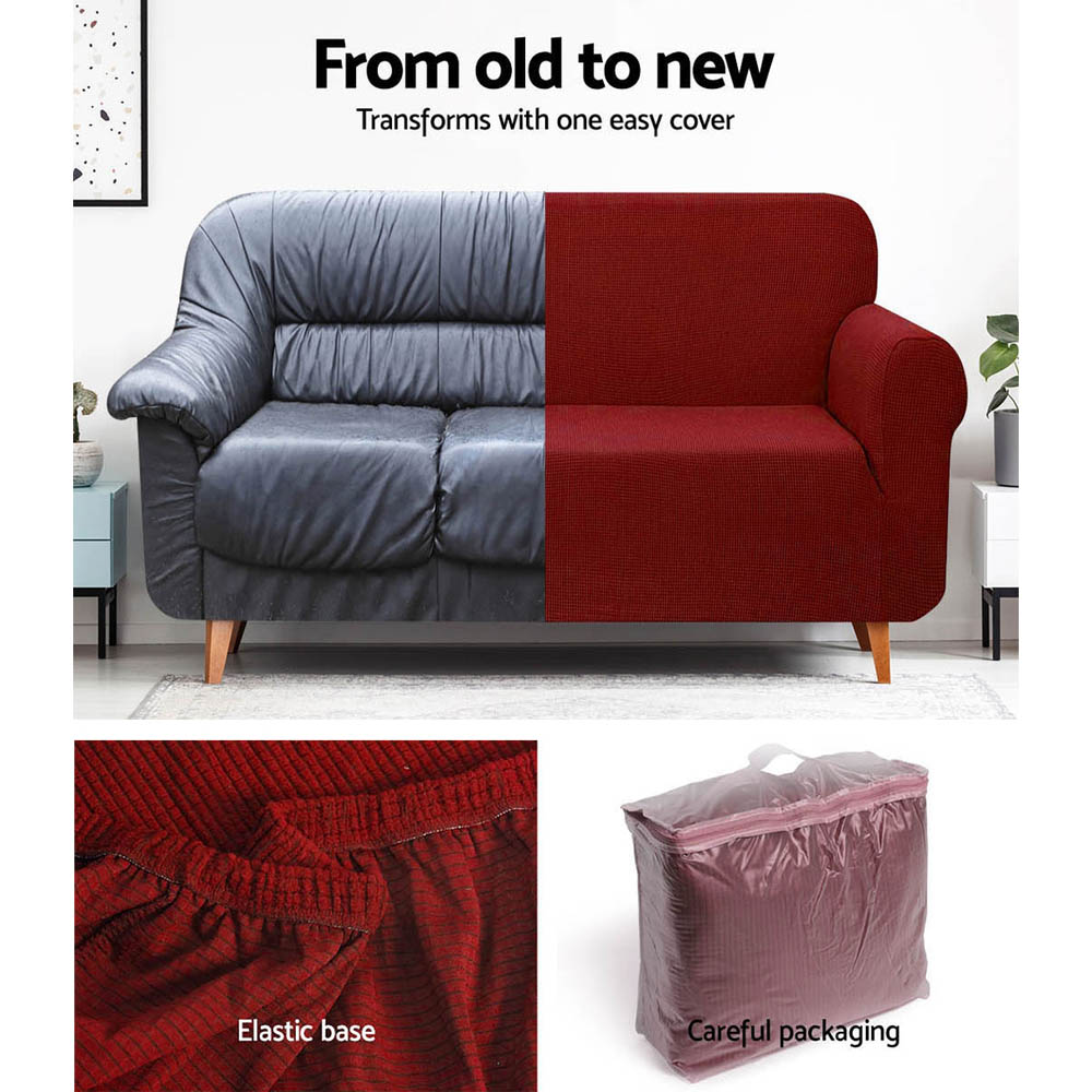 Artiss High Stretch Sofa Cover Couch Protector Slipcovers 1 Seater Burgundy 5