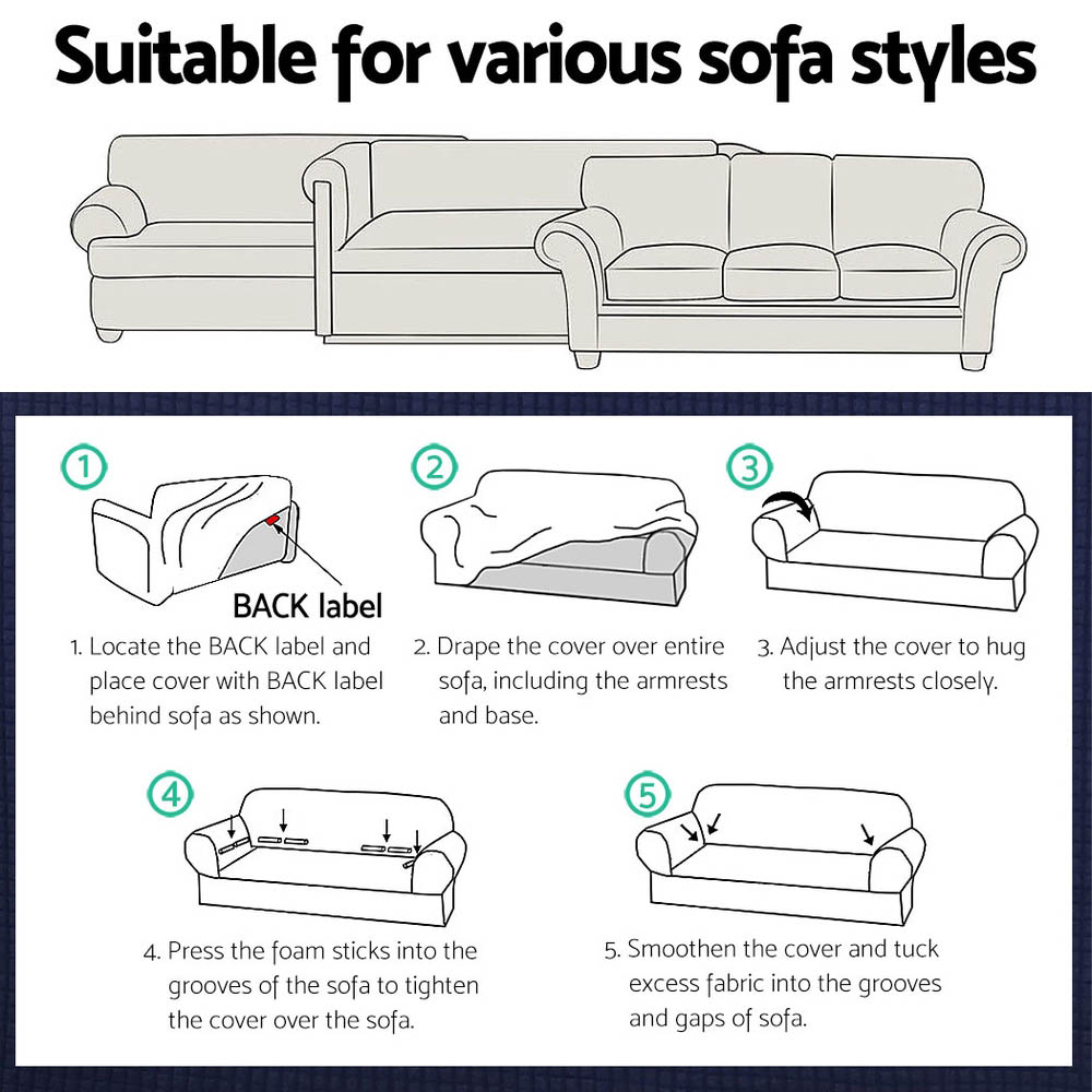 Artiss High Stretch Sofa Cover Couch Protector Slipcovers 2 Seater Coffee 6