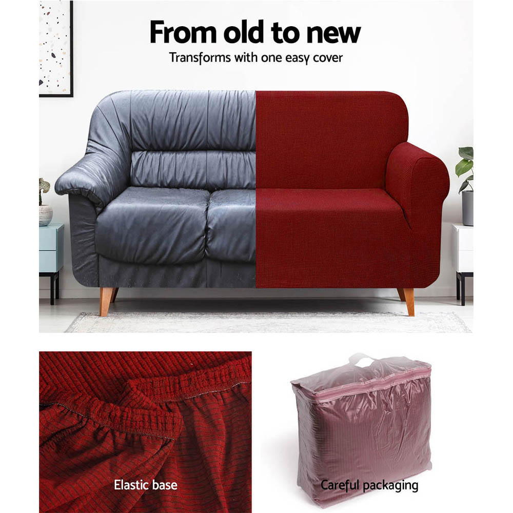 Artiss High Stretch Sofa Cover Couch Protector Slipcovers 3 Seater Burgundy 6