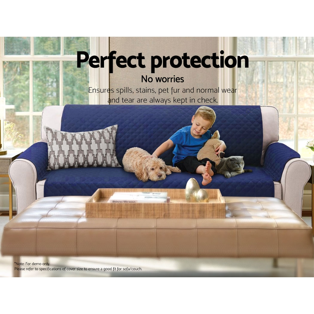 Artiss Sofa Cover Quilted Couch Covers Protector Slipcovers 1 Seater Navy 7