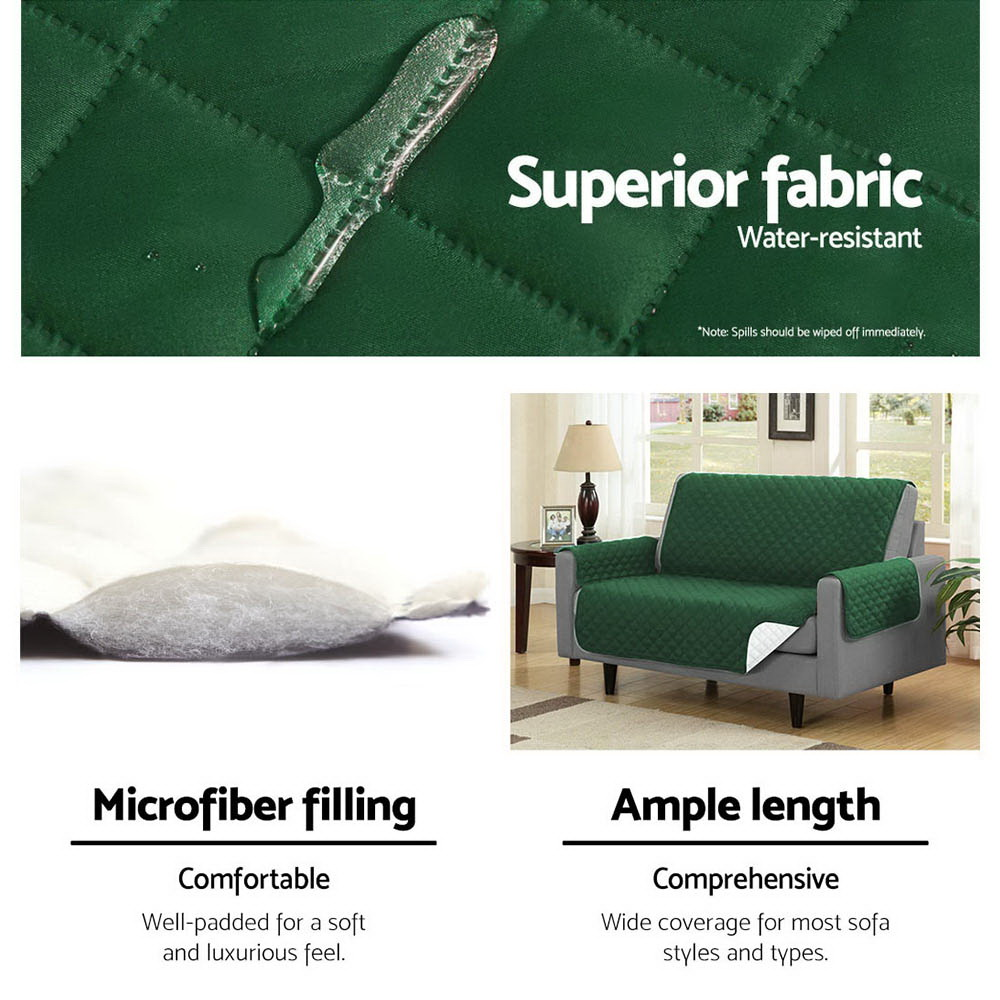 Artiss Sofa Cover Quilted Couch Covers Protector Slipcovers 2 Seater Green 6