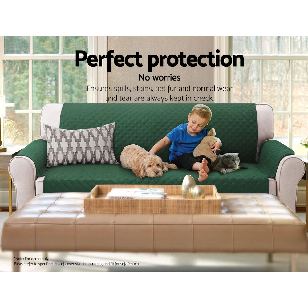 Artiss Sofa Cover Quilted Couch Covers Protector Slipcovers 2 Seater Green 7