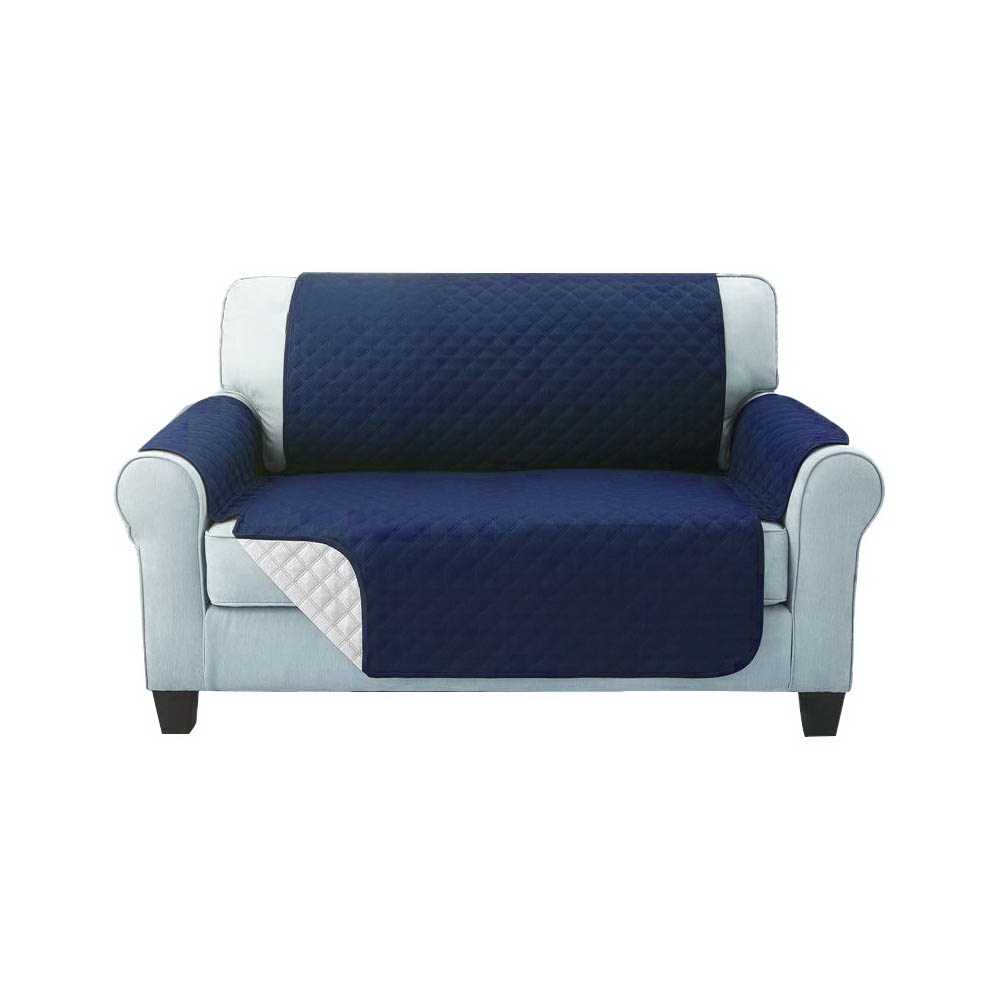 Artiss Sofa Cover Quilted Couch Covers Protector Slipcovers 2 Seater Navy 1