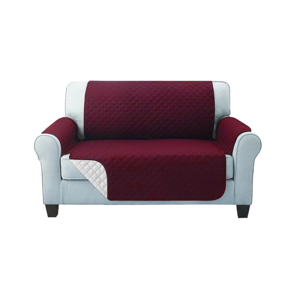 Artiss Sofa Cover Quilted Couch Covers Protector Slipcovers 2 Seater Burgundy 1