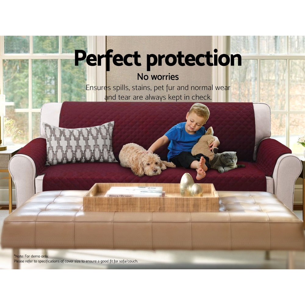 Artiss Sofa Cover Quilted Couch Covers Protector Slipcovers 2 Seater Burgundy 6