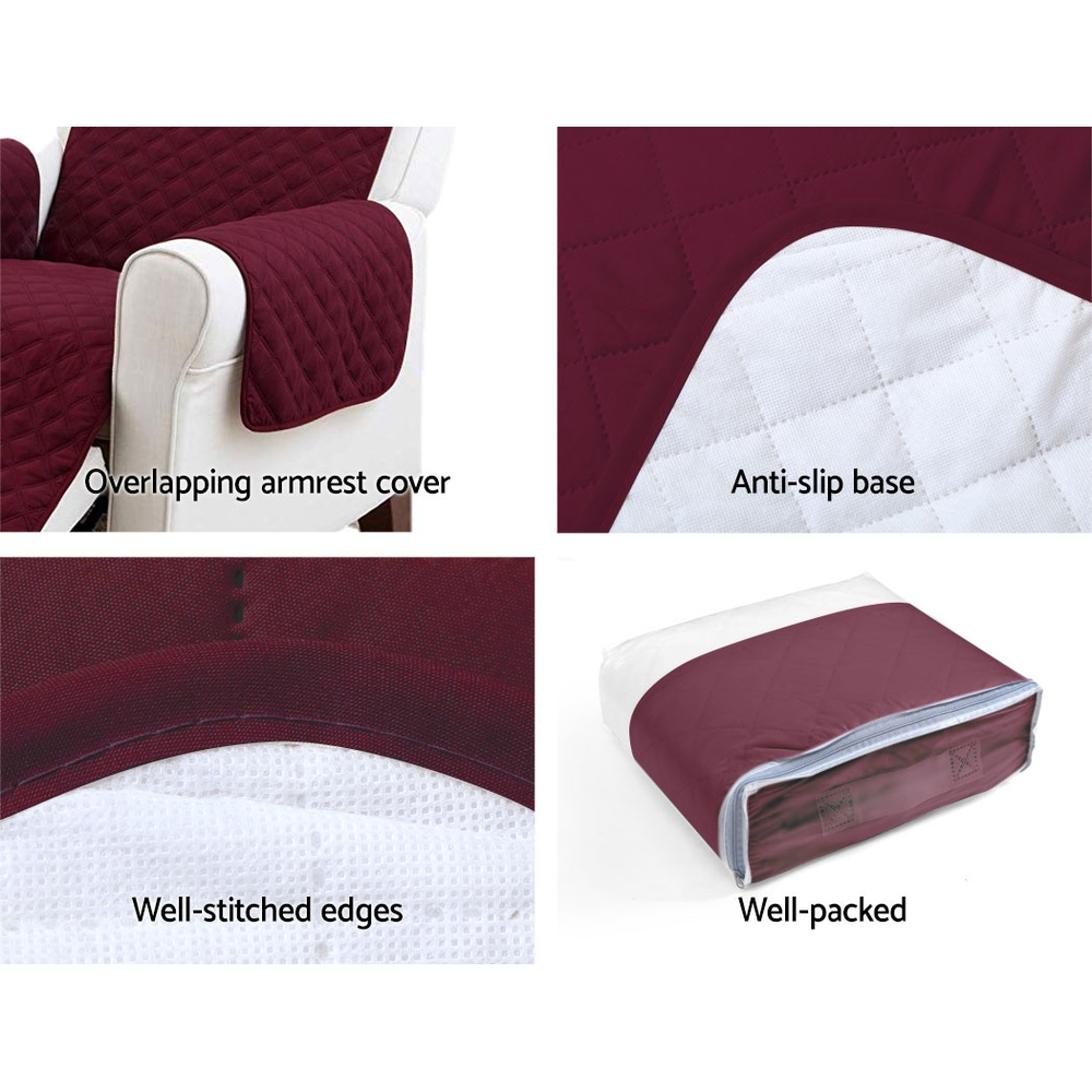 Artiss Sofa Cover Quilted Couch Covers Protector Slipcovers 2 Seater Burgundy 7