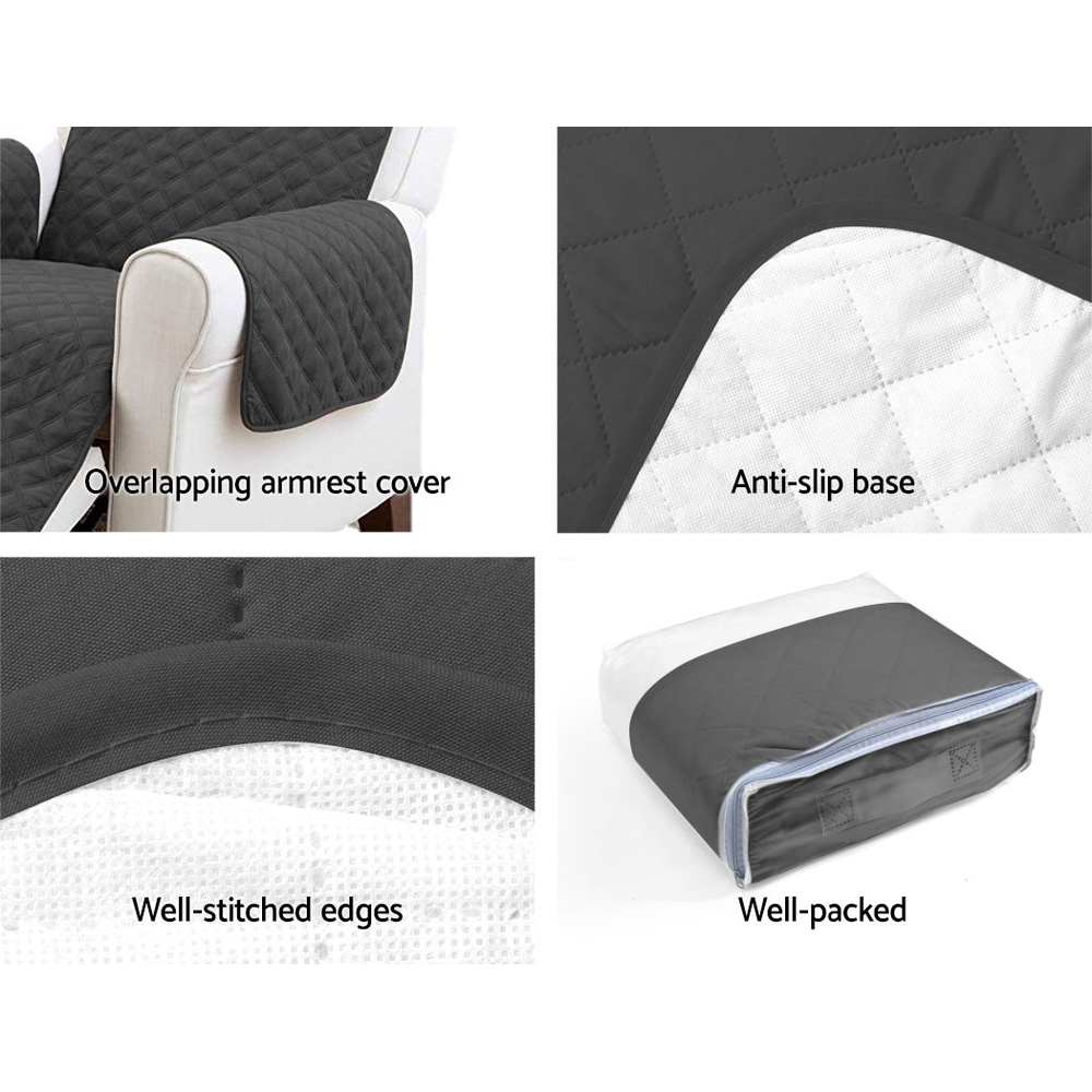 Artiss Sofa Cover Quilted Couch Covers Protector Slipcovers 3 Seater Dark Grey 4