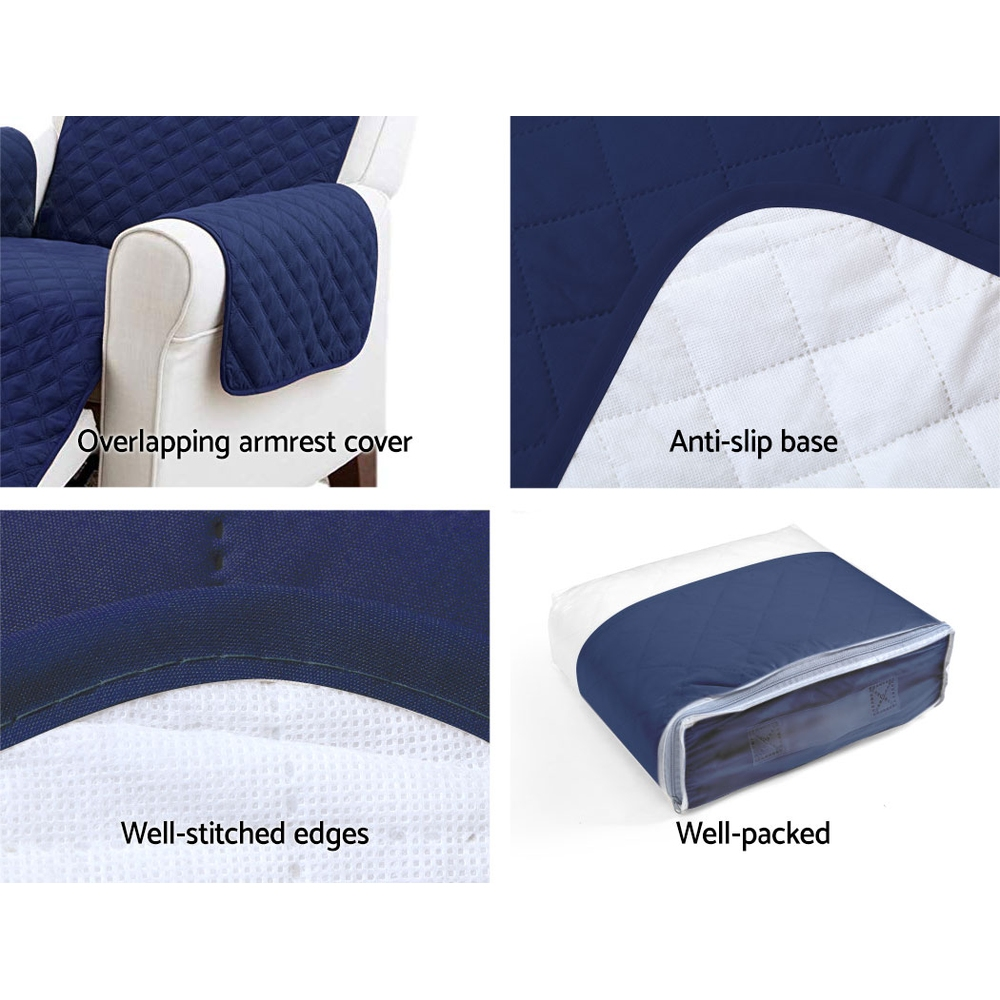 Artiss Sofa Cover Quilted Couch Covers Protector Slipcovers 3 Seater Navy 4