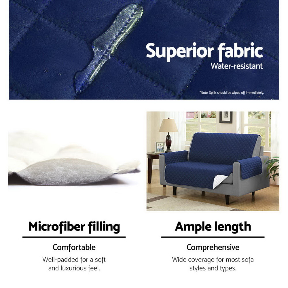 Artiss Sofa Cover Quilted Couch Covers Protector Slipcovers 3 Seater Navy 6