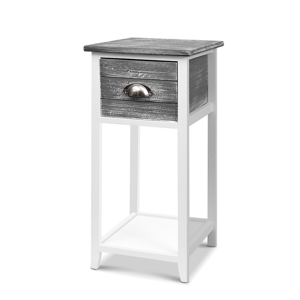 Artiss Bedside Table Nightstand Drawer Storage Cabinet Lamp Side Shelf Unit Grey 1