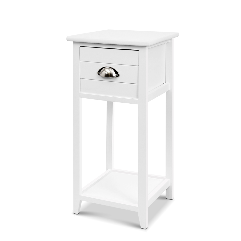 Artiss Bedside Table Nightstand Drawer Storage Cabinet Lamp Side Shelf White 1