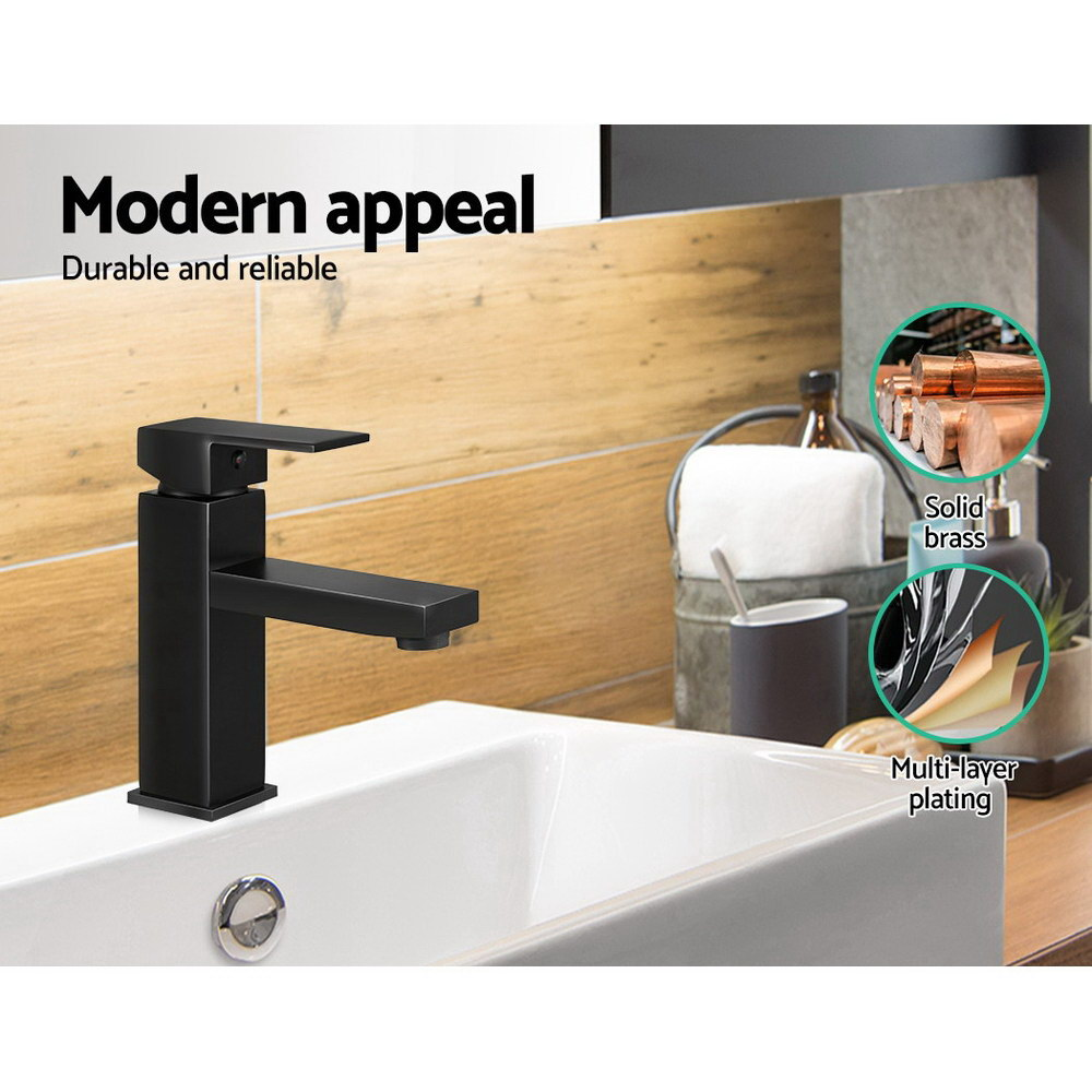 Cefito Basin Mixer Tap Faucet Bathroom Vanity Counter Top WELS Standard Brass Black 4