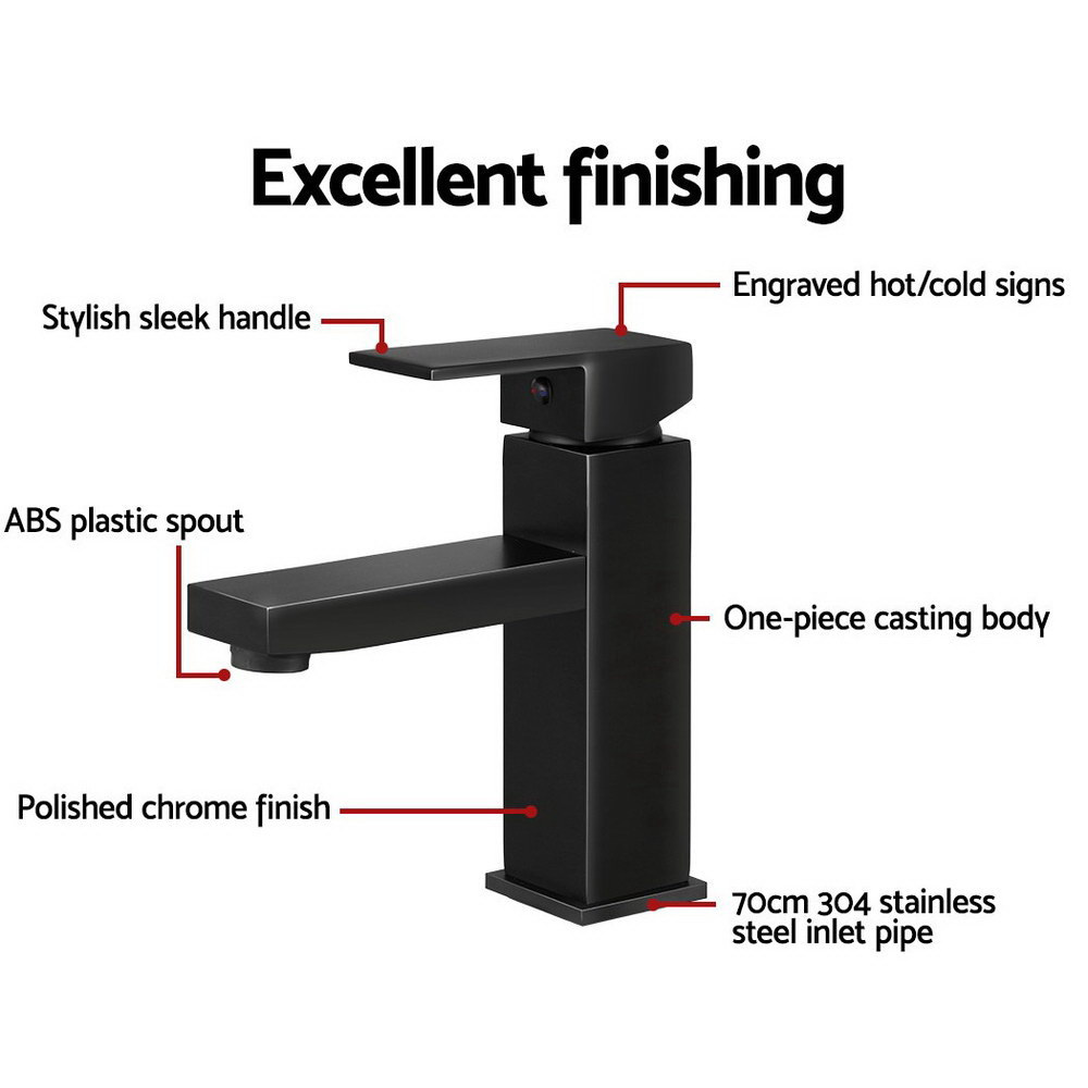 Cefito Basin Mixer Tap Faucet Bathroom Vanity Counter Top WELS Standard Brass Black 5