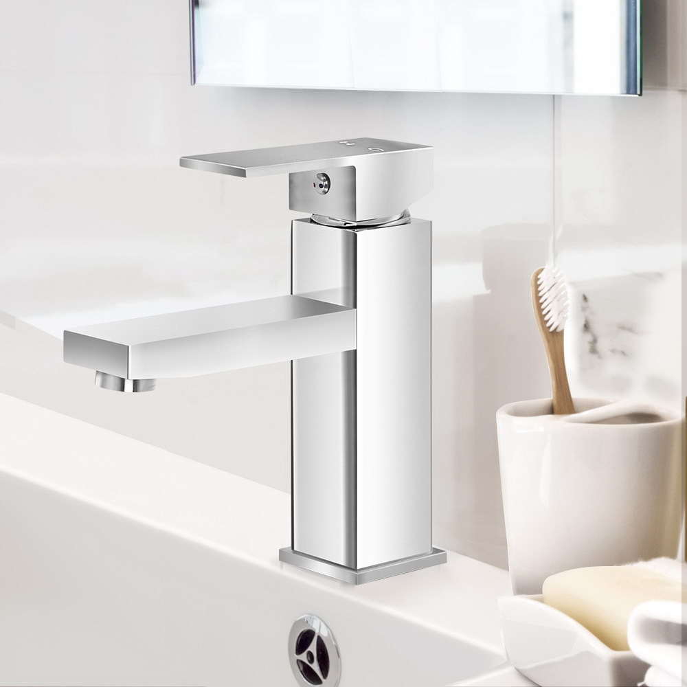 Cefito Basin Mixer Tap Faucet Bathroom Vanity Counter Top WELS Standard Brass Silver 7