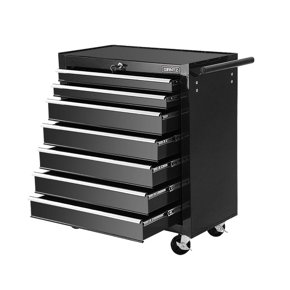 Giantz Tool Chest and Trolley Box Cabinet 7 Drawers Cart Garage Storage Black 1