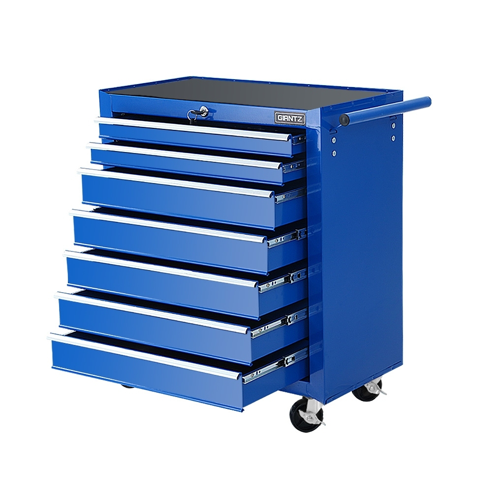 Giantz Tool Chest and Trolley Box Cabinet 7 Drawers Cart Garage Storage Blue 1