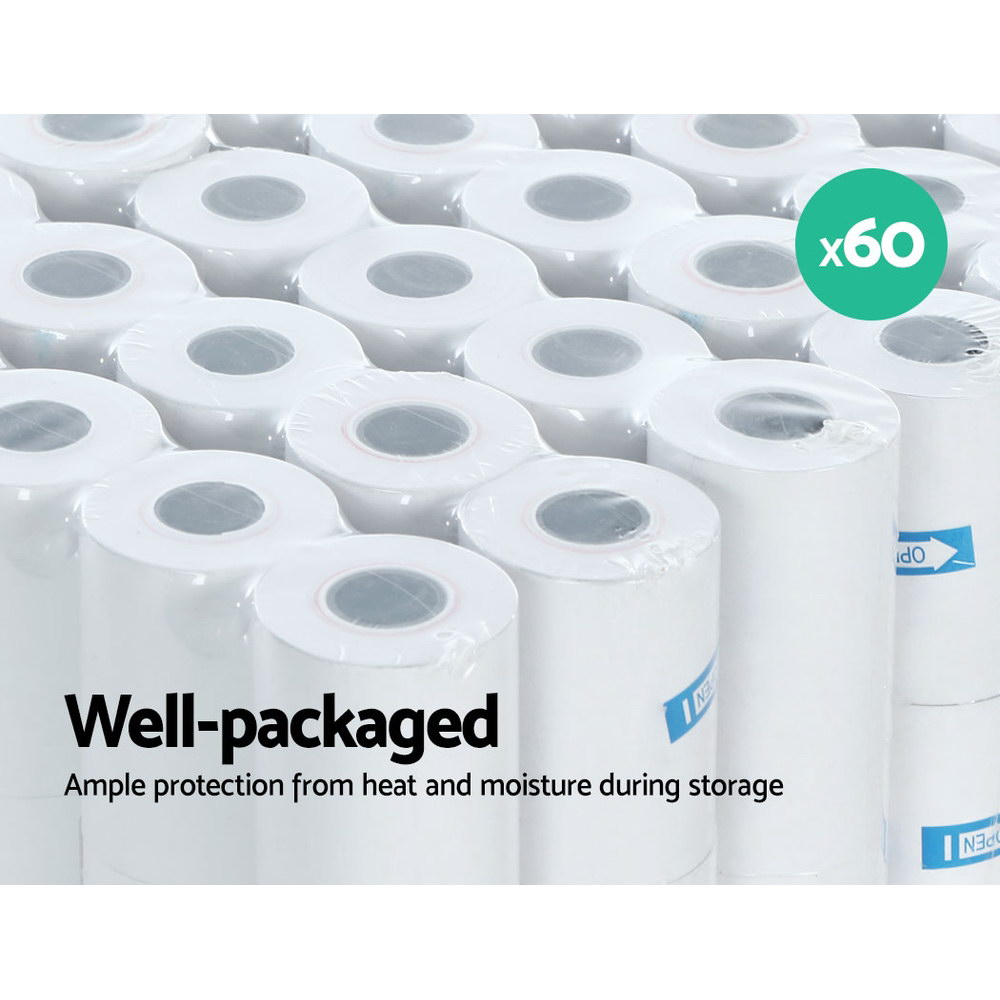 Emajin 60 Bulk Thermal Paper Rolls 57x38mm Cash Register Receipt Roll Eftpos 6