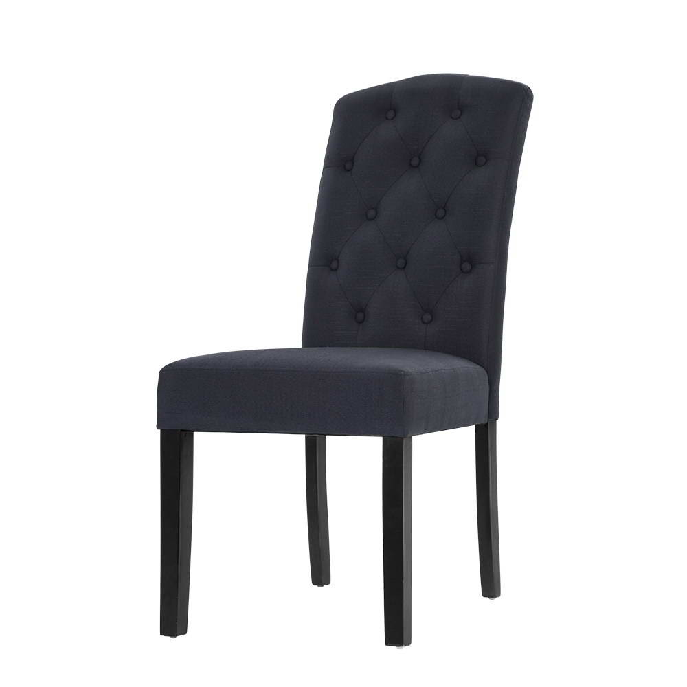 Artiss 2x Dining Chairs French Provincial Kitchen Cafe Fabric Padded High Back Pine Wood Grey 1