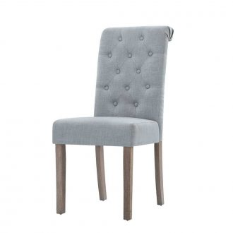 Artiss 2x Dining Chairs French Provincial Kitchen Cafe Fabric Padded High Back Pine Wood Light Grey 1
