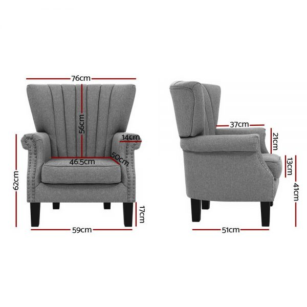 Artiss Upholstered Fabric Armchair Accent Tub Chairs Modern seat Sofa Lounge Grey 3