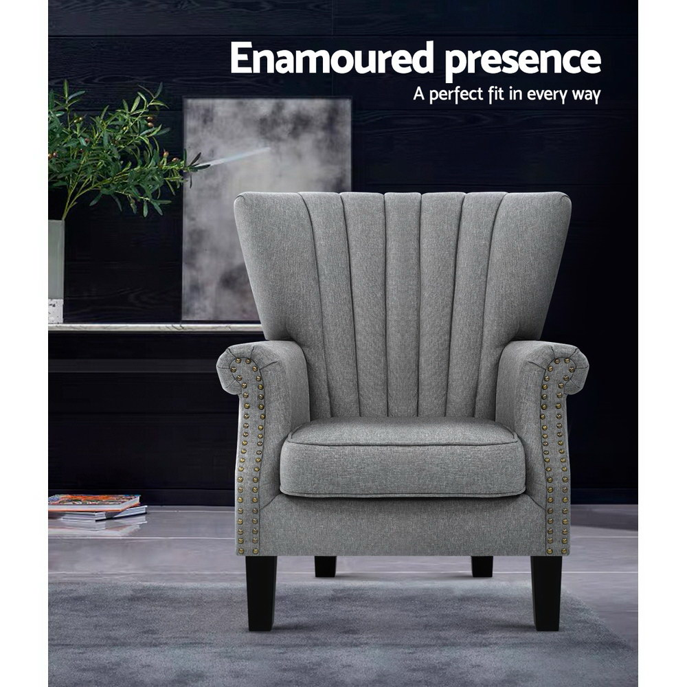 Artiss Upholstered Fabric Armchair Accent Tub Chairs Modern seat Sofa Lounge Grey 4