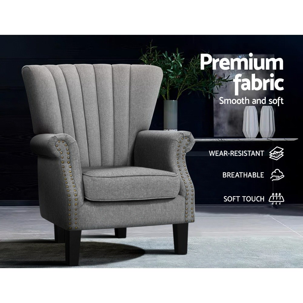 Artiss Upholstered Fabric Armchair Accent Tub Chairs Modern seat Sofa Lounge Grey 5