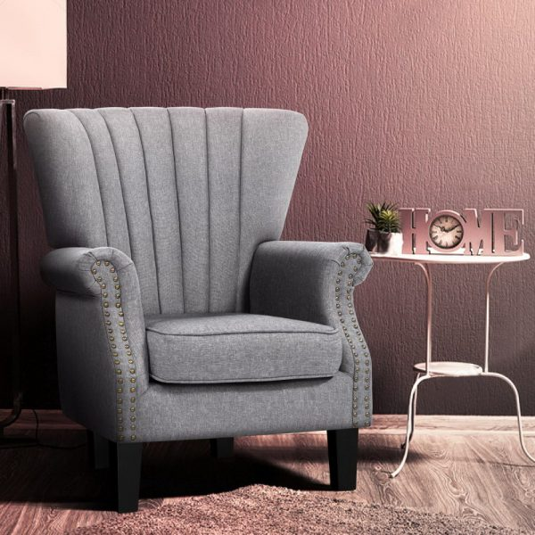 Artiss Upholstered Fabric Armchair Accent Tub Chairs Modern seat Sofa Lounge Grey 7