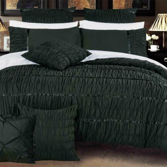 King Size Black Horizontal Cross Weave Quilt Cover Set (3PCS) 1