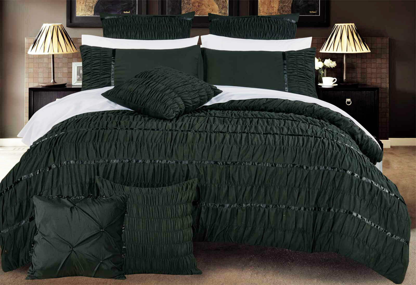 King Size Black Horizontal Cross Weave Quilt Cover Set (3PCS)