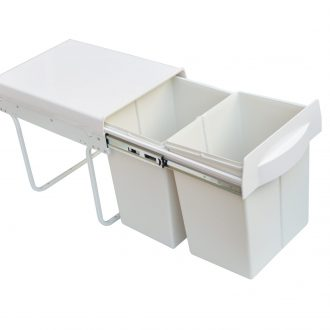 Pull Out Bin Kitchen Double Dual Slide Garbage Rubbish Waste 2X20L 1