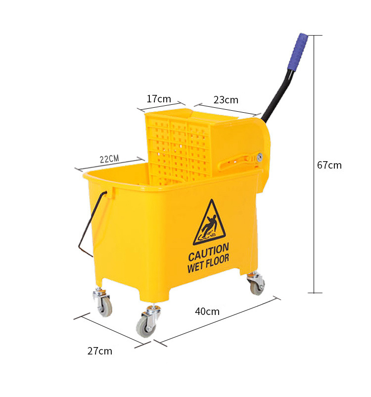 20L Deluxe Mop Wringer Bucket Side Press Janitor Commercial Cleaning 3