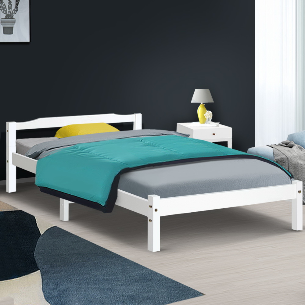 Artiss King Single Size Wooden Bed Frame Mattress Base Timber Platform White 7