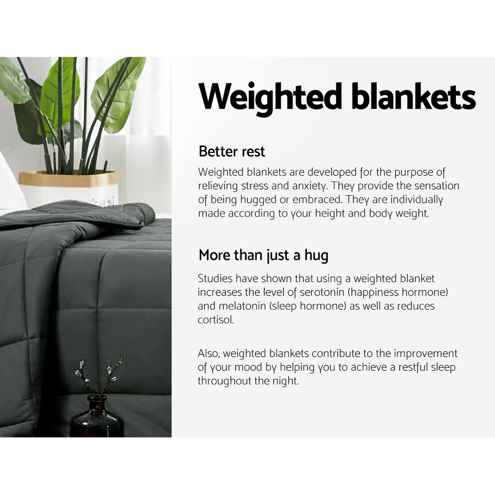 Giselle Bedding 5KG Cotton Weighted Blanket Heavy Gravity Sleep Adult Black 4