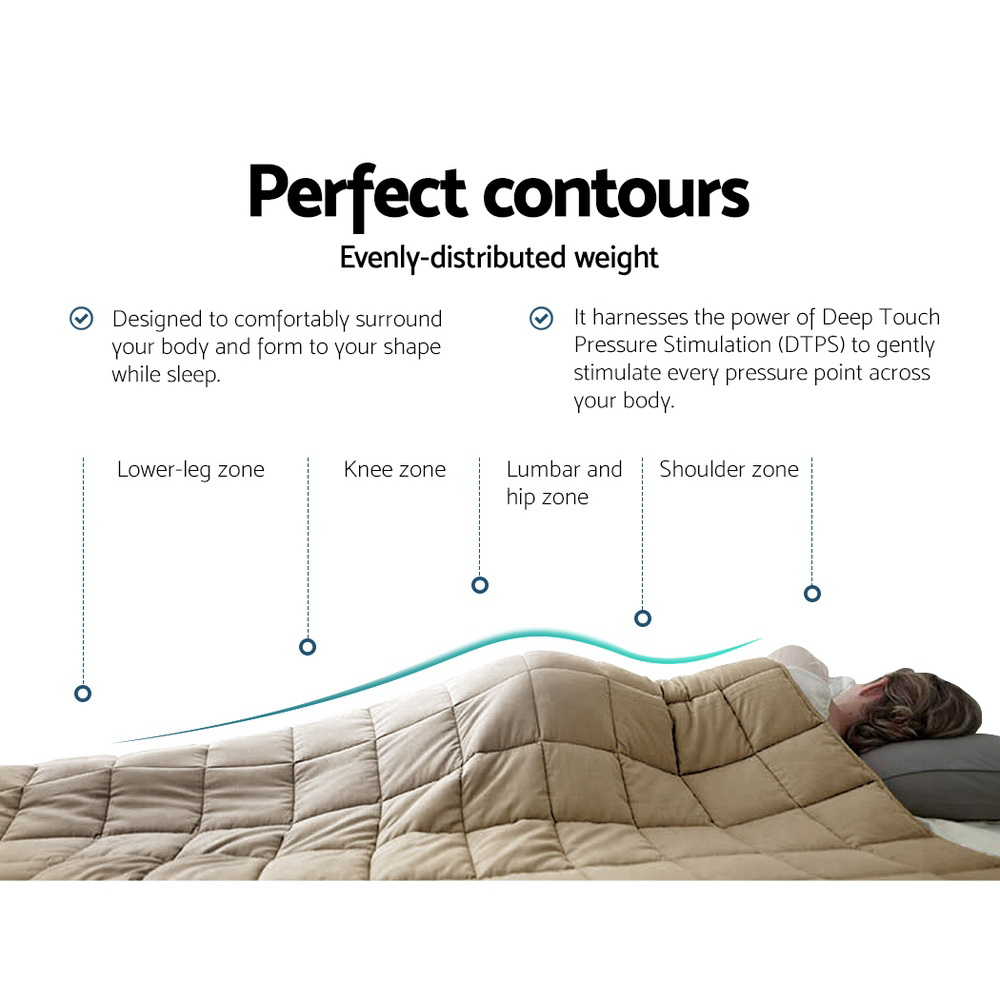 Giselle Bedding Cotton Weighted Blanket Heavy Gravity Deep Relax Sleep Adult 5KG Brown 5