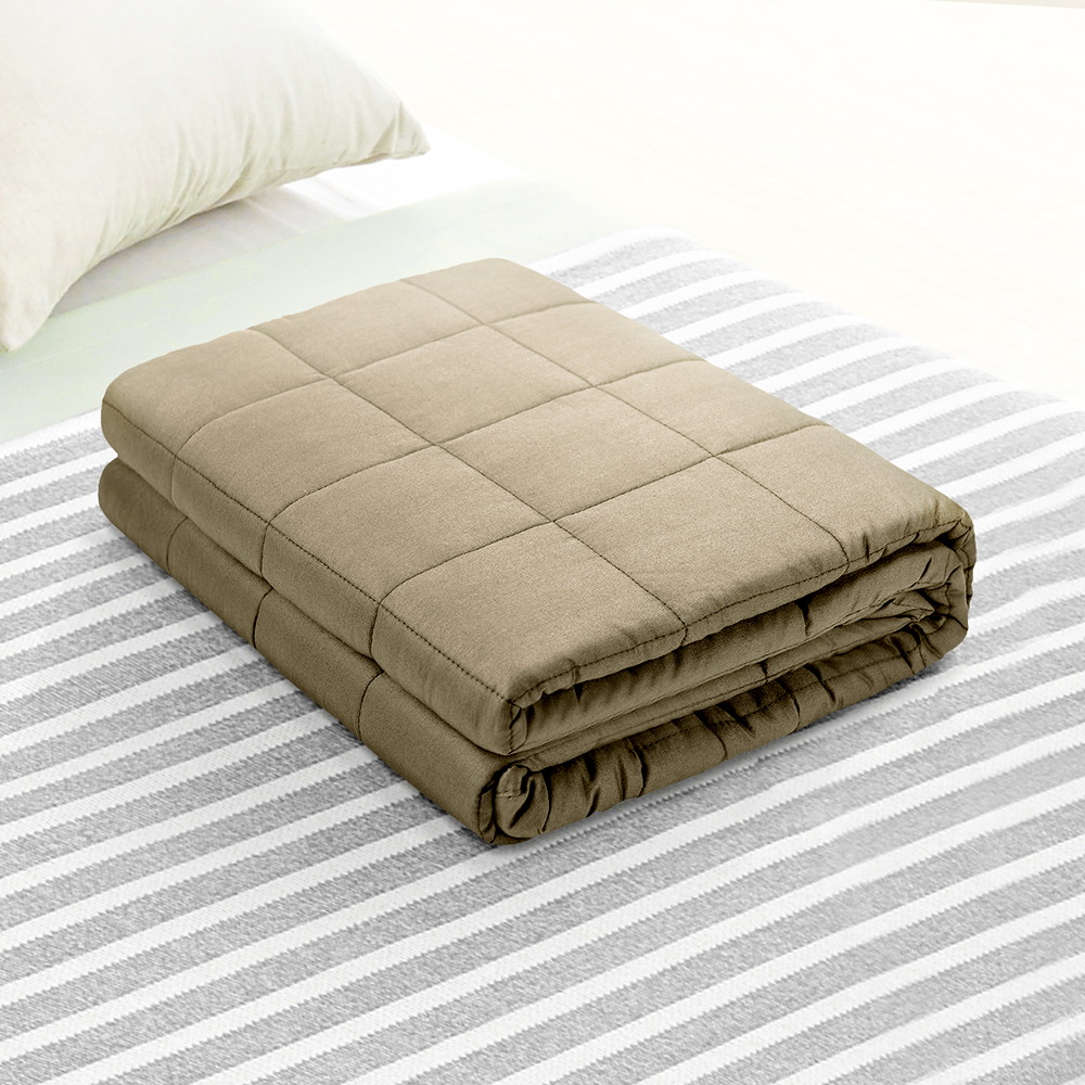 Giselle Bedding Cotton Weighted Blanket Heavy Gravity Deep Relax Sleep Adult 5KG Brown 7