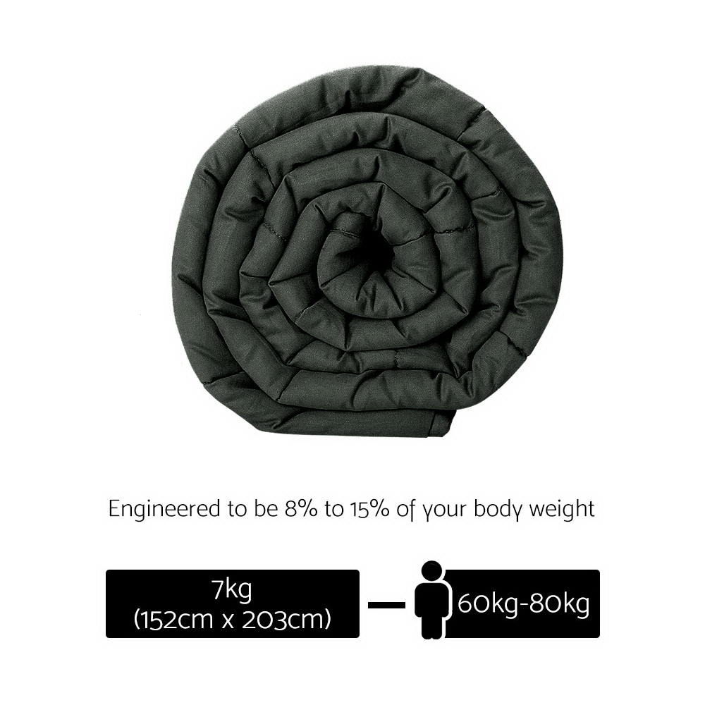 Giselle Bedding 7KG Cotton Weighted Blanket Deep Relax Sleeping Gravity Adult Black 2