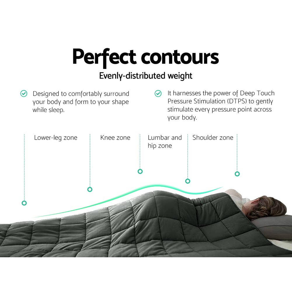 Giselle Bedding 7KG Cotton Weighted Blanket Deep Relax Sleeping Gravity Adult Black 5
