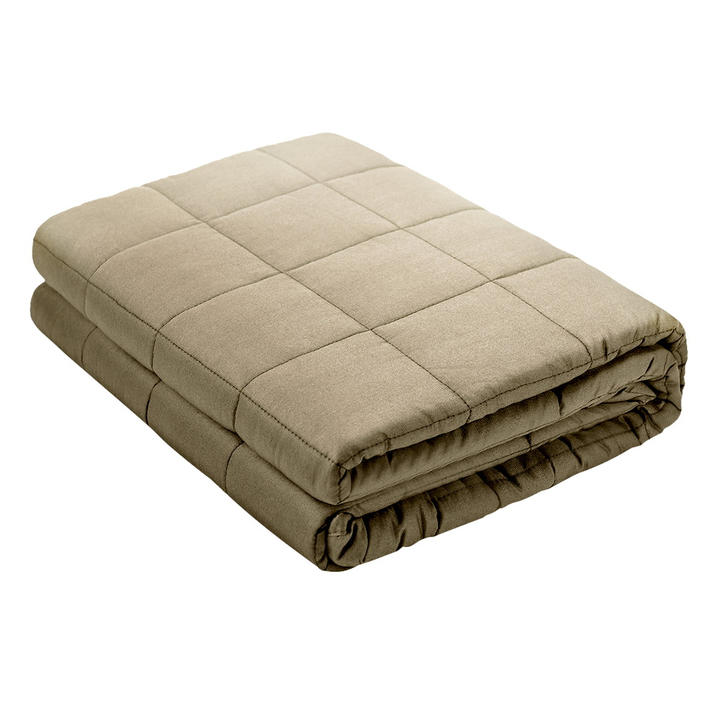 Giselle Bedding 7KG Cotton Gravity Weighted Blanket Deep Relax Sleep Adult Brown 1