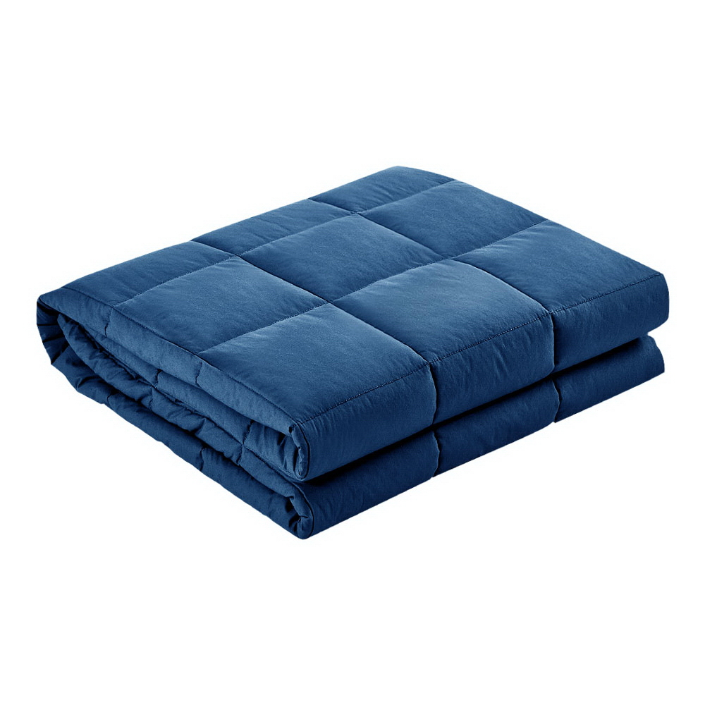 Giselle Bedding Cotton Weighted Gravity Blanket 7KG Deep Relax Sleep Adult Navy 1