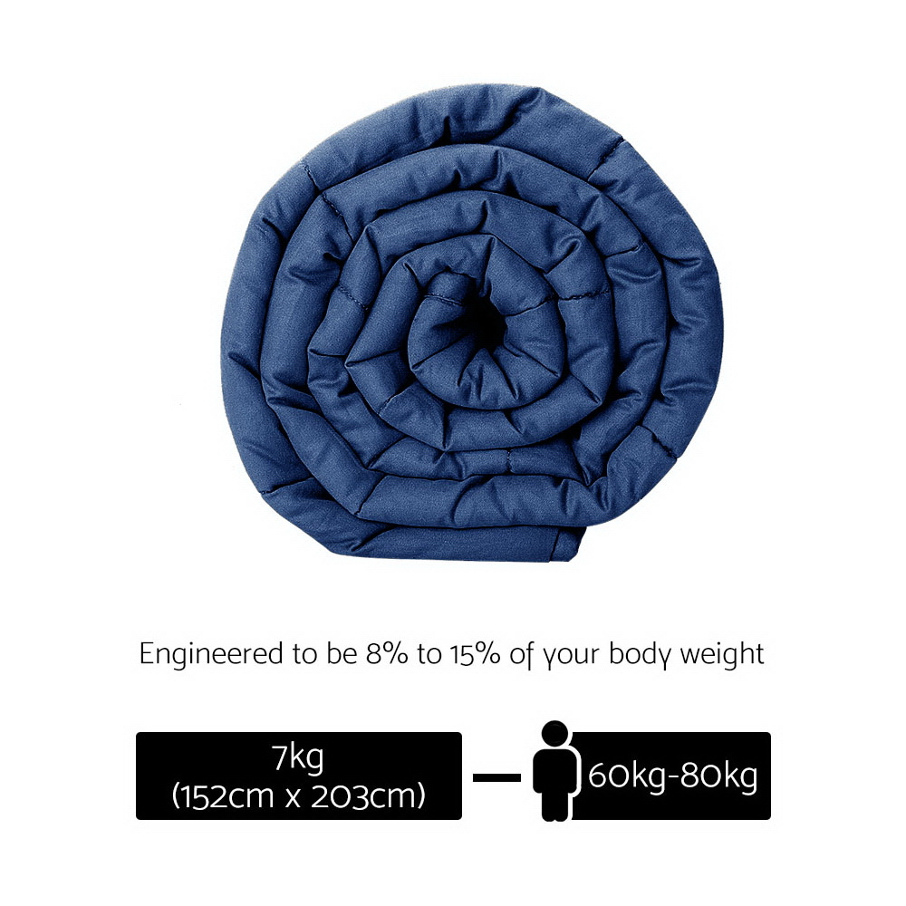 Giselle Bedding Cotton Weighted Gravity Blanket 7KG Deep Relax Sleep Adult Navy 2