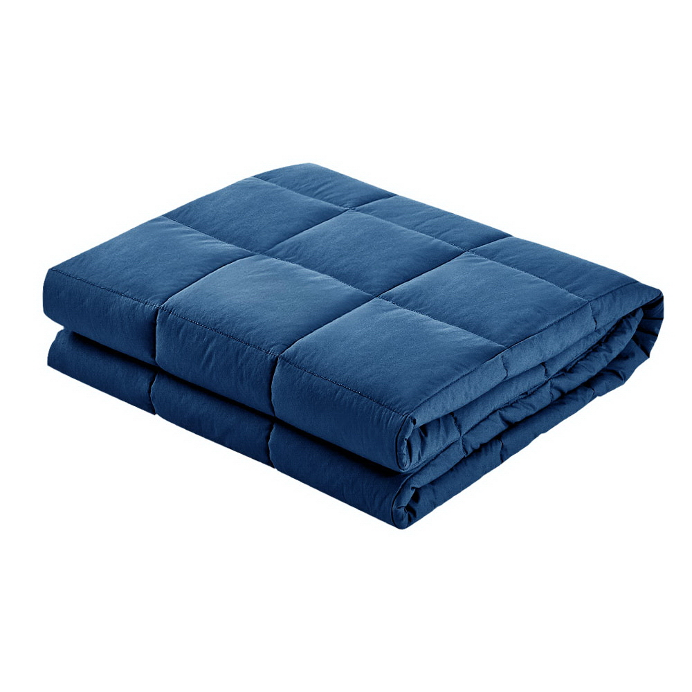Giselle Bedding Cotton Weighted Gravity Blanket 7KG Deep Relax Sleep Adult Navy 3