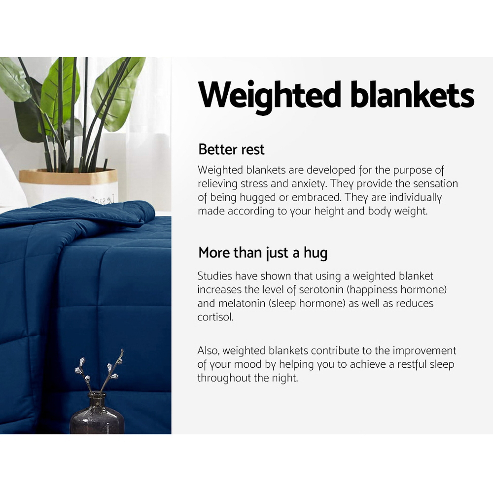 Giselle Bedding Cotton Weighted Gravity Blanket 7KG Deep Relax Sleep Adult Navy 4