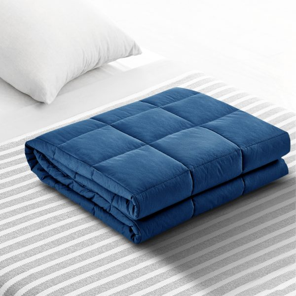 Weighted Blanket Adult 7KG Heavy Gravity Blankets Microfibre Cover Calming Relax Anxiety Relief Navy Blue 7