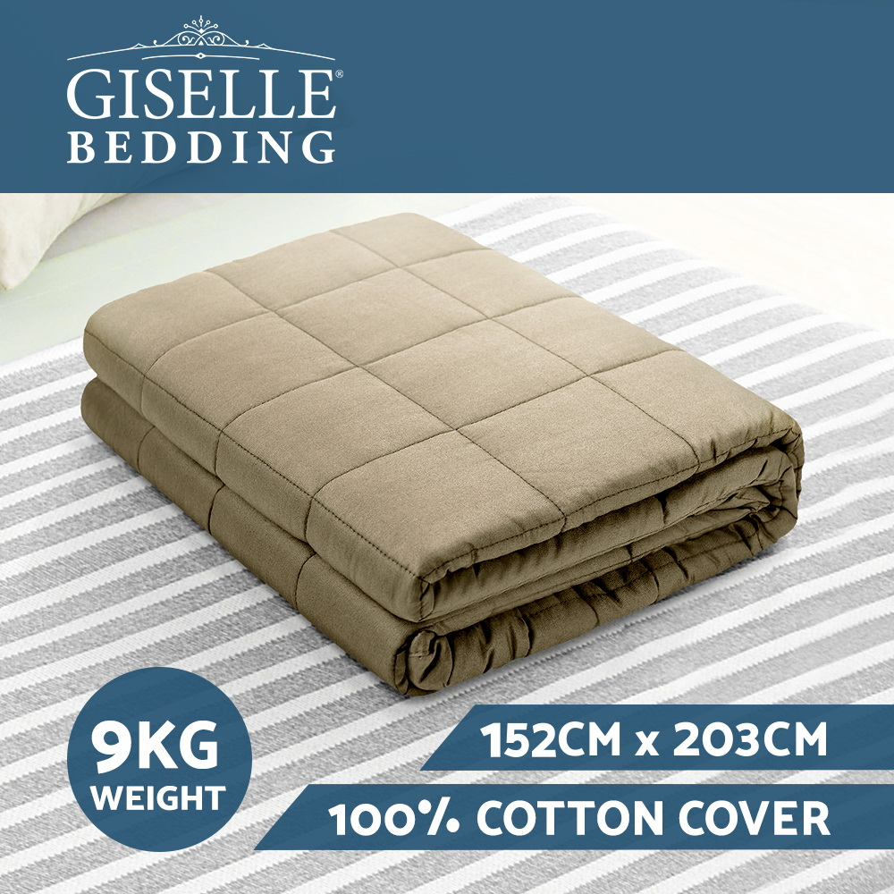 Giselle Bedding 9KG Cotton Gravity Weighted Blanket Deep Relax Calm Adult Brown 3