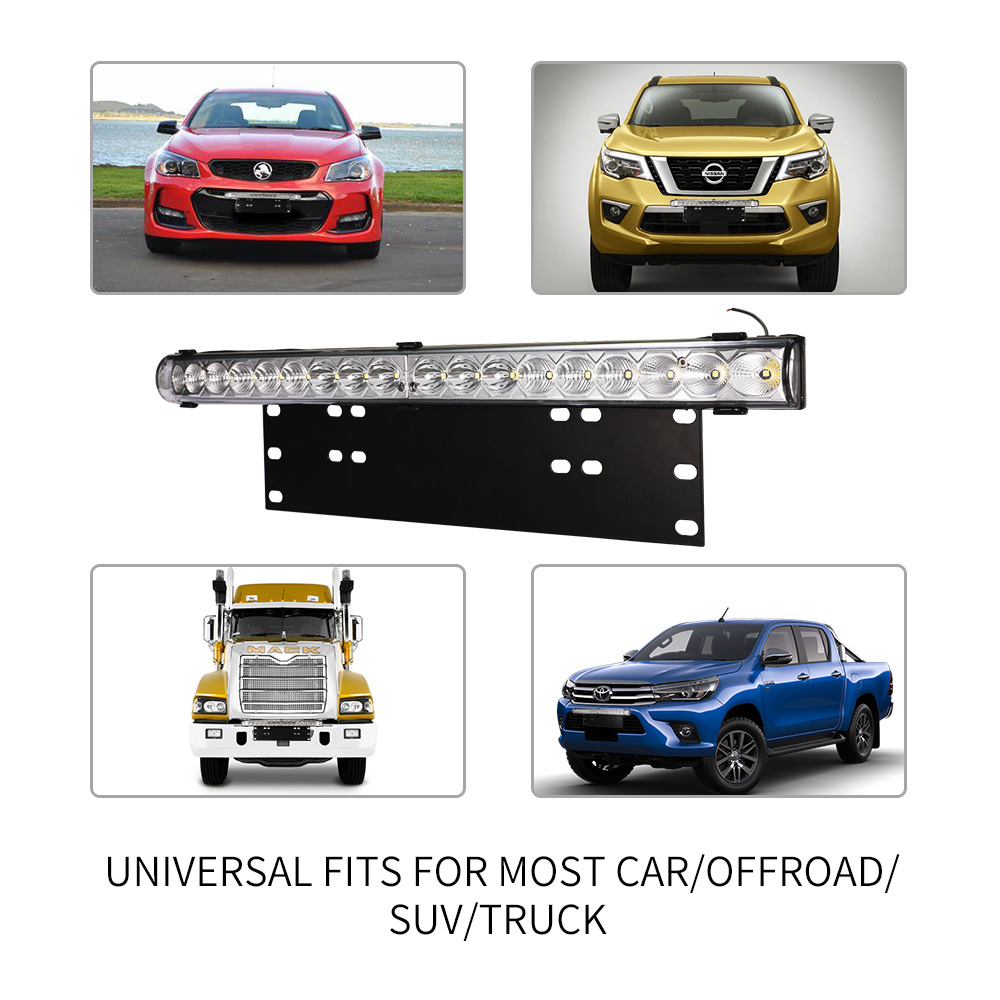 20inch LED Light Bar & Number Plate Frame Integrated 4WD Car Truck Universal fit 6