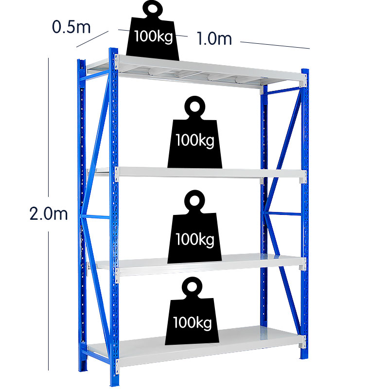 4-Bay shelving 4m-wide 400kg 8