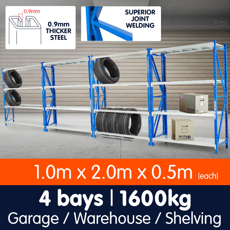 4-Bay shelving 4m-wide 400kg 1