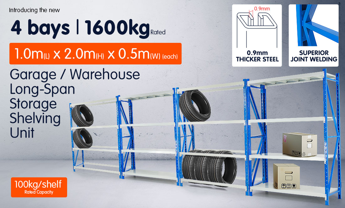 4-Bay shelving 4m-wide 400kg 2