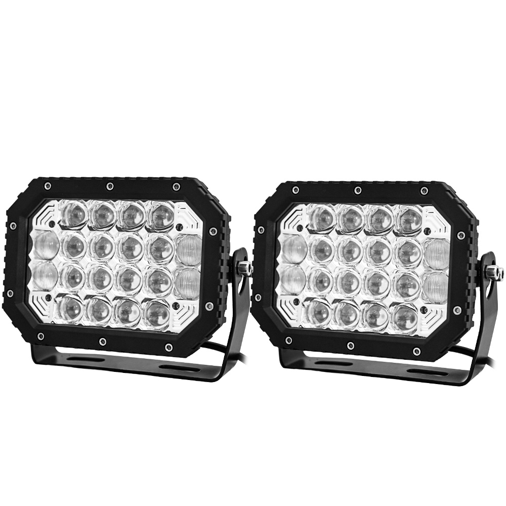 2X 7inch 5D Square LED Driving Light Bar Spot Flood Combo Offroad Boat Truck SUV 1