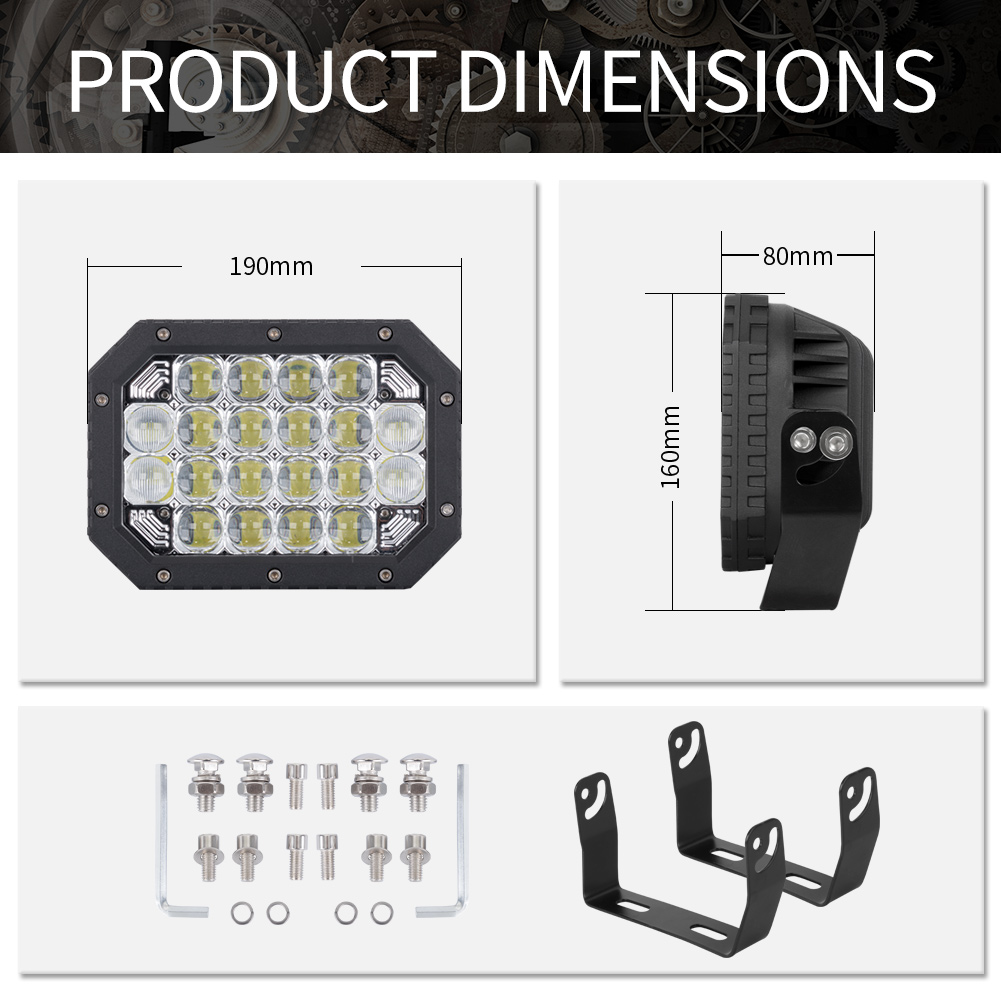 2X 7inch 5D Square LED Driving Light Bar Spot Flood Combo Offroad Boat Truck SUV 9